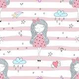 Disegnato a mano sveglio con l'illustrazione senza cuciture del modello di vettore sveglio della bambina Fotografia Stock Libera da Diritti