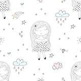 Disegnato a mano sveglio con l'illustrazione senza cuciture del modello di vettore sveglio della bambina Immagini Stock Libere da Diritti