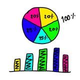 Disegnato a mano un grafico dei grafici per completare i dati crescenti del punto al concetto Immagini Stock