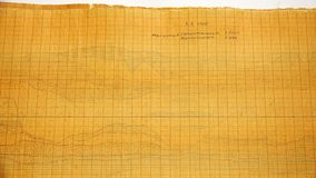 Disegni antichi sulla carta di scala-coordinata stock footage
