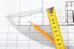 Disegni architettonici Immagine Stock Libera da Diritti