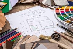 disegni architettonici con la tavolozza dei colori Fotografia Stock