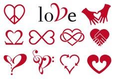 Disegni astratti del cuore, insieme di vettore Fotografie Stock Libere da Diritti