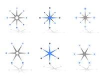 Disegni astratti di marchio di vettore del fiocco di neve e della stella Fotografia Stock