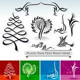 Disegni calligrafici naturali e decorazione Immagine Stock
