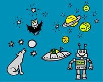 Disegni circa la notte e lo spazio con un vampiro e un robot per i bambini anche disponibili come disegno di vettore royalty illustrazione gratis