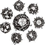 Disegni decorativi rotondi del dingbat del fiore illustrazione vettoriale