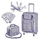 Disegni degli oggetti di vettore di viaggio messi Fotografie Stock Libere da Diritti