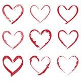 Disegni del biglietto di S. Valentino del cuore messi Fotografie Stock