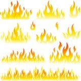 Disegni del fuoco di vettore Immagini Stock Libere da Diritti