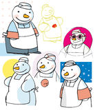 Disegni del pupazzo di neve del cuoco unico Immagine Stock Libera da Diritti