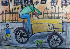 Disegni del ` s dei bambini - driver del trattore Fotografia Stock Libera da Diritti