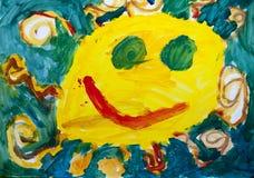 Disegni del ` s dei bambini - sole nel cielo Fotografia Stock