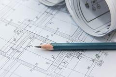 Disegni della costruzione e della matita Fotografia Stock Libera da Diritti