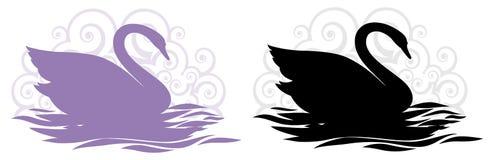 Disegni della siluetta del cigno Immagini Stock Libere da Diritti