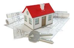 Disegni di costruzione e piccola casa Fotografia Stock Libera da Diritti