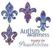 Disegni di Fleur di consapevolezza di autismo Immagine Stock Libera da Diritti