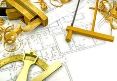 Disegni di ingegneria e strumenti della costruzione Fotografia Stock
