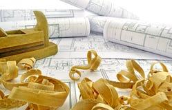 Disegni di ingegneria e strumenti della costruzione Fotografie Stock Libere da Diritti