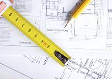 Disegni di pianificazione della costruzione Fotografie Stock Libere da Diritti