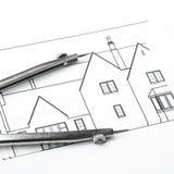 Disegni di pianificazione della costruzione Fotografie Stock