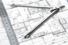 Disegni di pianificazione della costruzione Immagini Stock Libere da Diritti