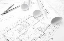 Disegni di pianificazione della costruzione Immagine Stock Libera da Diritti