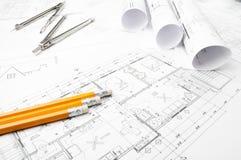 Disegni di pianificazione della costruzione Fotografia Stock