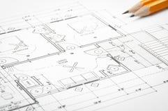 Disegni di pianificazione della costruzione Fotografia Stock Libera da Diritti