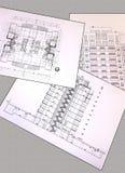 Disegni di progetto di una pianta della casa residenziale, sezione, facciata fotografia stock libera da diritti