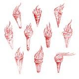 Disegni di schizzo d'annata delle torce brucianti rosse Fotografia Stock