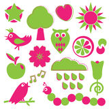 Disegni di verde e di colore rosa Fotografie Stock Libere da Diritti