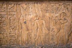 Disegni e pitture sulle pareti degli impiegati egiziani antichi Immagine Stock Libera da Diritti