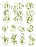 Disegni floreali verdi su bianco Immagini Stock Libere da Diritti