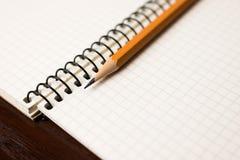 Disegni a matita alle pagine di un taccuino aperto per le annotazioni Fotografie Stock Libere da Diritti