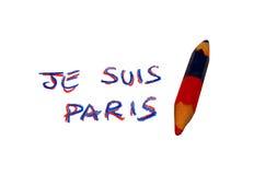 Disegni a matita con l'iscrizione JE SUIS PARIGI in memoria del terro Fotografie Stock Libere da Diritti