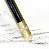 Disegni a matita con la gomma Fotografia Stock