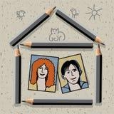 Disegni a matita, doodles, casa e coppie Fotografie Stock Libere da Diritti