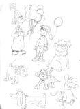 Disegni a matita gli schizzi clown con i cani ed il ratto dei palloni illustrazione di stock
