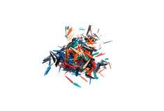 Disegni a matita i trucioli su un foglio di carta bianco Fotografia Stock