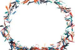 Disegni a matita i trucioli su un foglio di carta bianco Fotografie Stock