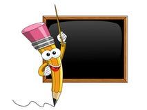 Disegni a matita il bastone del fumetto della mascotte che insegna alla lavagna in bianco isolata Immagine Stock Libera da Diritti