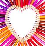 Disegni a matita il cuore Fotografia Stock
