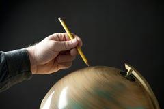 Disegni a matita il globo Fotografia Stock
