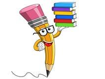 Disegni a matita l'isolato d'uso dei libri del mucchio di vetro di lettura del fumetto della mascotte Immagine Stock Libera da Diritti