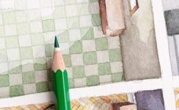 Disegni a matita sull'illustrazione delle mattonelle dell'acquerello del bagno floorplan Immagine Stock