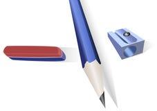 Disegni a matita, temperamatite e una fascia elastica Fotografia Stock