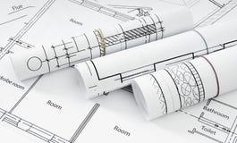 Disegni per la casa di costruzione Disegni esecutivi Fotografie Stock Libere da Diritti