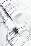 Disegni per la casa di costruzione Disegni esecutivi Immagine Stock Libera da Diritti