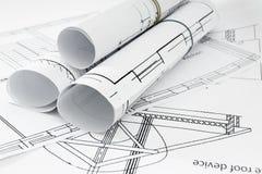 Disegni per la casa di costruzione Disegni esecutivi Immagini Stock